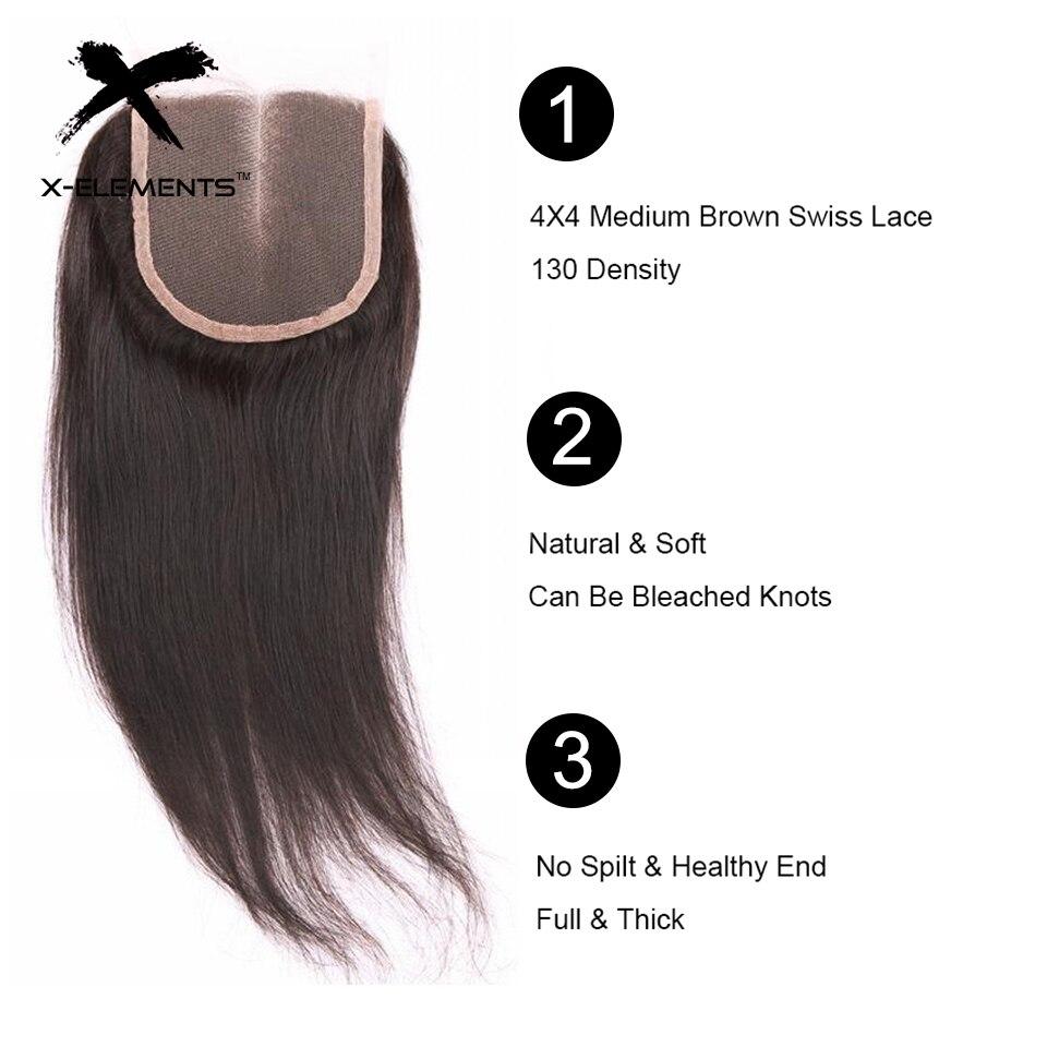 X-Elements 4 * 4 Lace Closure Brazilian Hair väver mänskliga Rak - Mänskligt hår (svart) - Foto 3
