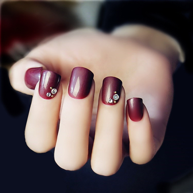 24pcs/set wine red pure color Rhinestones false nails with Sided ...