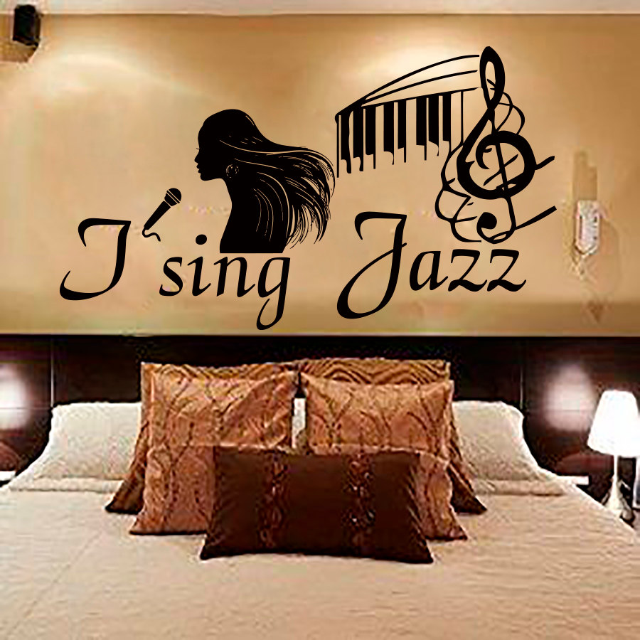 Dctop I Sing Jazz Female Singer Wall Sticker Vinyl Removable Home Decor Musical Note Black Bedroom Wall Decals