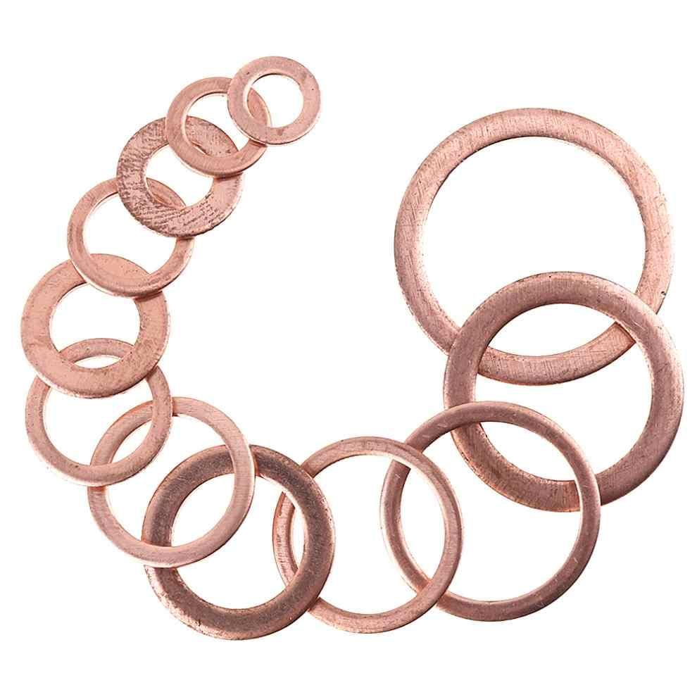 Juego de Mini arandelas de cobre selladas mecánicas 280 unids/lote con 12 tamaños y tipo O para enchufes de sumidero/accesorios hidráulicos