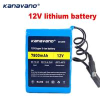12v 18650 Rechargeable batteries Lithium Battery pack 7.8AH 7800mAh DC mobile power Protect and 12.6V 1A Charger+Free shopping