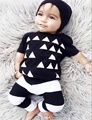 Summer Baby Boys Clothing Set Cotton Black Geometric T shirt pant Baby 2pcs Set Kids Boy Clothes Set