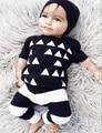 Verão conjunto de roupas meninos algodão preto camisa geométrica T calça bebê 2 pcs Set crianças Boy roupas Set