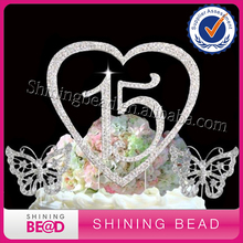 Personalized Name Custom Number 15 in heart cake topper Silver Plated Crystal Rhinestone Annivesary WeddingBirthday Cake