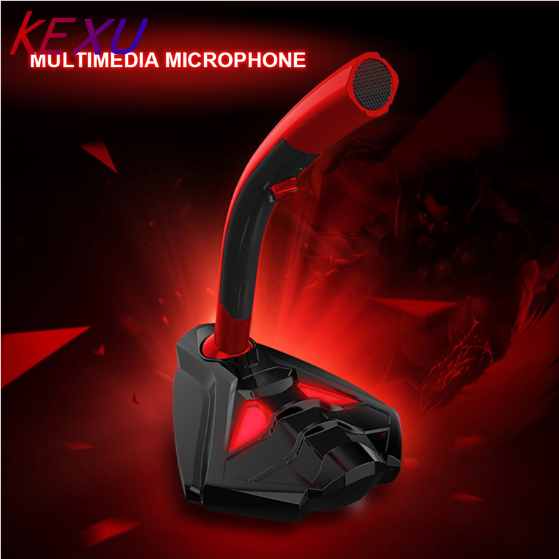 Kexu com fio microfone usb studio gaming 360 omnidirectionnel pc microfone para desktop de computador profissional microfone duplo led mic