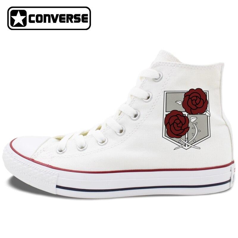 Prix pour Blanc Noir Converse All Star Chaussures Attaque sur Titan Police Militaire Régiment Logo Stationné corps Hommes Femmes Toile Sneakers