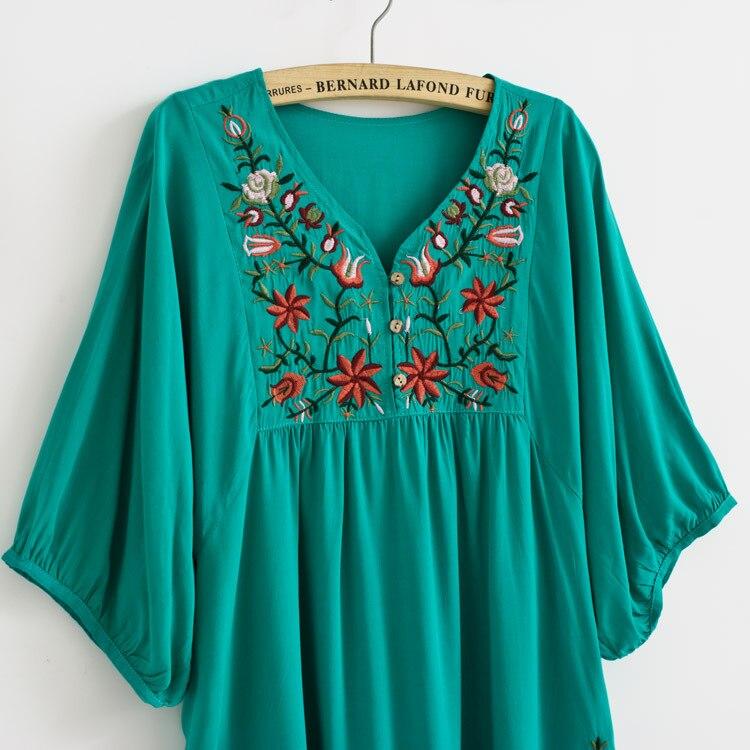 d4dd42863 Nueva venta caliente de la vendimia 70 s mexicano étnico florales bordados  hippie blusa vestido de las mujeres clothing vestidos sml plus tamaño en ...