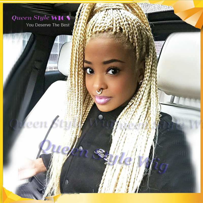 New Stylish Synthetic Blonde Braided Lace Front Wig Box