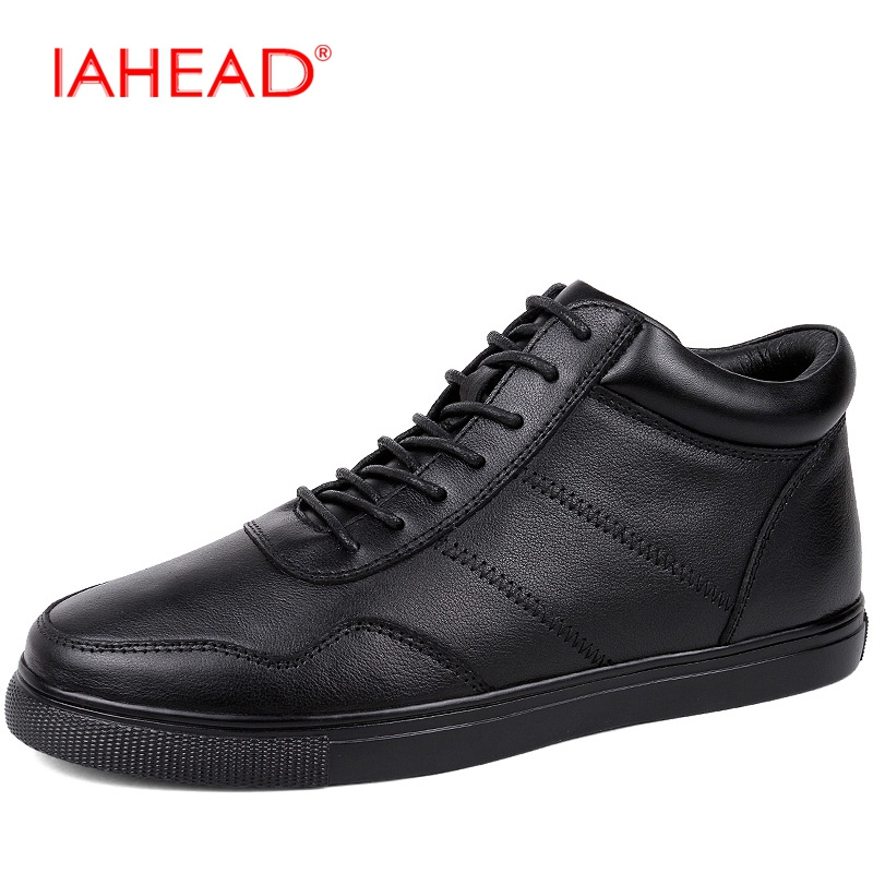 Men Boots Genuine Leather Plus Size 38-48 New 2017 Winter Shoes Men Black Lace-Up Ankle Boots Wear Resisting Casual Shoes  MH541 iahead men boots genuine leather flats new casual shoes lace up warm winter boots men plus size 38 48 rain shoes men mh586