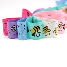 5y/6y 25mm Bee Glower Printed Grosgrain Ribbons DIY Sewing Trim Ribbon Handmade Materials Wrapping Decoration 040054259