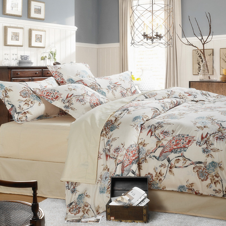 Chinese landscape painting Pure cotton bedding sets Full/Queen Size 4pcs Let you feel the beauty of classical China