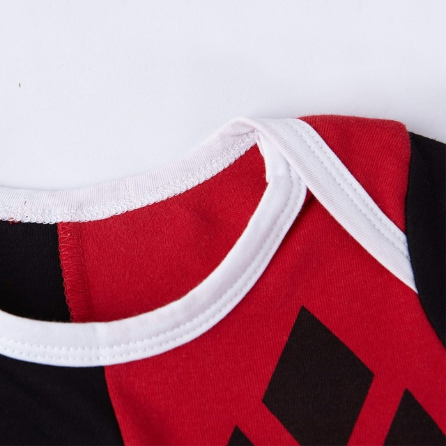 Bébé Filles Harley Quinn Costume Barboteuses Infantile Salopette Partie Mignon Cosplay Barboteuse 0-24 Mois