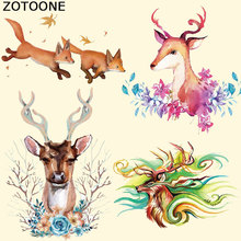 ZOTOONE Patches Iron on Stickers Watercolor Animal Print T-Shirt Washable Clothes Decoration New Design Diy Accessory Parches