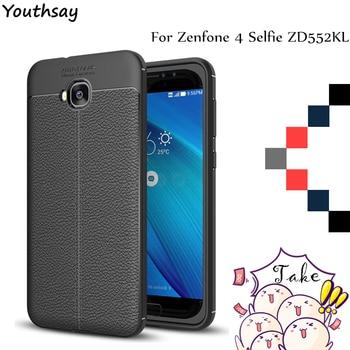 Youthsay para la cubierta Asus Zenfone 4 Selfie ZD553KL caso Litchi patrón Back y cubierta de teléfono de TPU suave para Asus Zenfone 4 Selfie casos