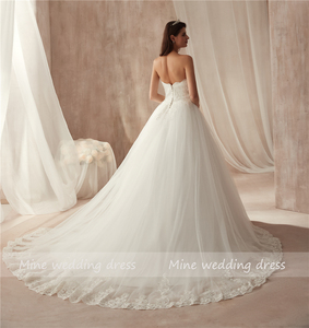 Image 4 - Ball Gown Strapless Tulle Wedding Dress Lace Fitted Bridal Dress with Court Train Wedding Gowns Vestido De Noiva 2021