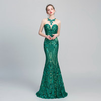 Luxury green Evening Dresses Long Formal Boat Neckline 8colors Sequins trumpet sleeveless lace ladies party gowns robe de soiree