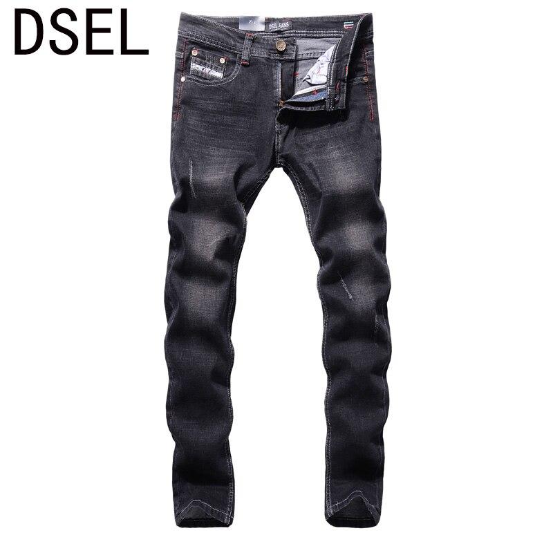Black Color Denim Men Jeans High Quality DSEL Brand Scratched Stripe Jeans Men Elastic Skinny Jeans