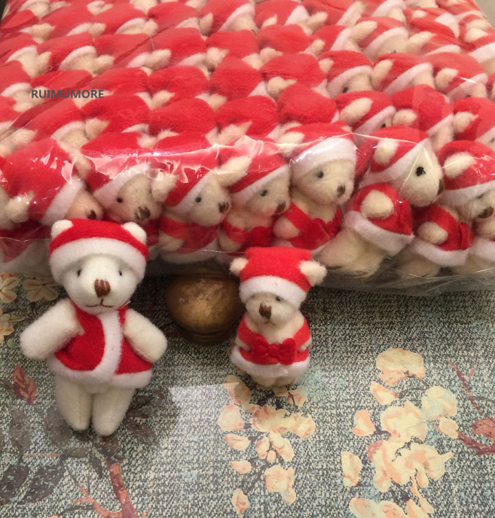 20pcs//Lot Cute Miniature Christmas Bears with Hat Desk Top Decoration Red