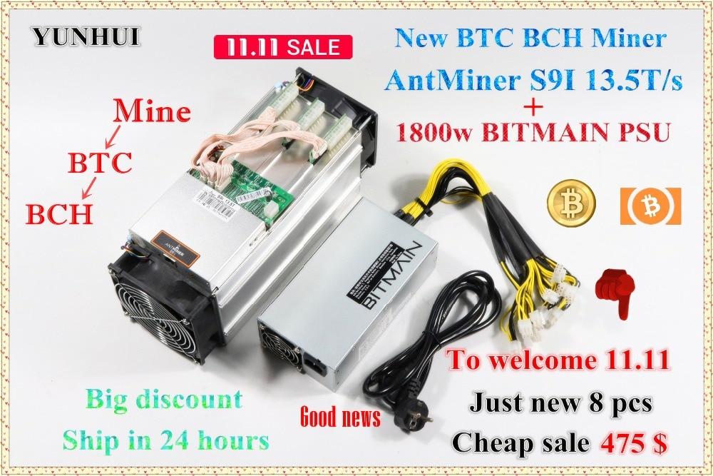 Nuovo AntMiner S9i 13.5 t BTC BCH Minatore Con 1800 w BITMIAN PSU Bitcoin Minatore Da Bitmain Meglio di S9 13.5 t T9 + WhatsMiner M3
