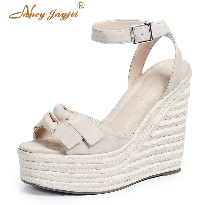 2019 Bow Butterfly-knot Summer Famous Brand Wedges Sandals Ladies Shoes Woman Platform Ankle Strap Shoes Casual Dress Size 11