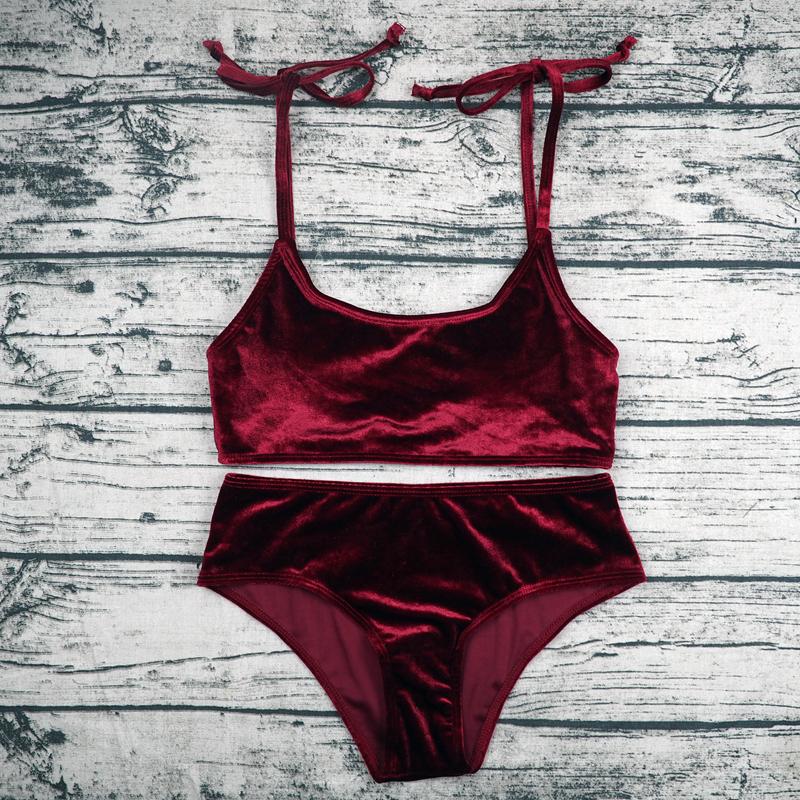 Sexy Brazilian Bikini 17 Blue Velvet Swimwear Women Swimsuit Push up Biquini Halter Bikinis Set Bathing Suit Maillot De Bain 11