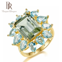 купить Bague Ringen New Fashion Sea Blue Zircon Crystal Rings For Women Wedding Party Gold Color Jewelry Ring Wholesale Female Gifts по цене 240.89 рублей