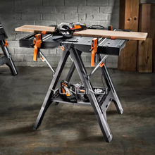 Folding Woodworking Saw Table with Quick Clamps Holding Pegs Carpentry Console Mobile Portable Woodworking Benches WX051