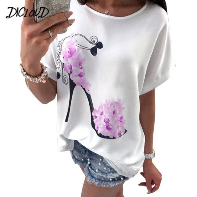 DICLOUD Women High Heels Printed Tops Beach Casual Loose Top Shirt Short-Sleeved Round Neck Summer T-Shirt 2018 3XL Tees