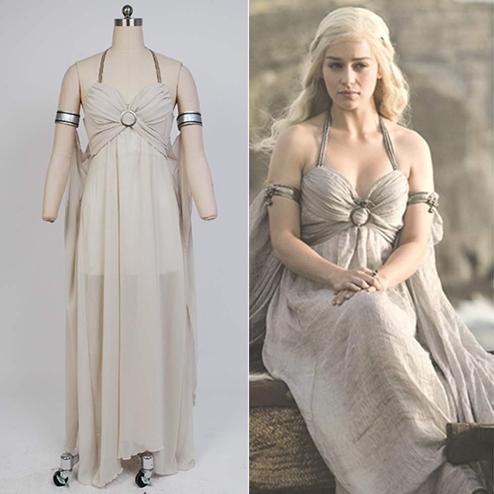 Game of Thrones Daenerys Targaryen Mother of Dragons Evening Dress White Gown Cosplay Costume Halloween Party Women Sexy Dress
