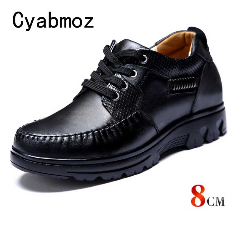 Comfortable Calf Leather Height Increasing Elevator Shoes Men Taller 8CM Instantly with Height Increase Insole Black Casual Shoe 2 36 inches taller height increasing elevator shoes black blue red casual leather shoes soft sole soft surface driving shoes
