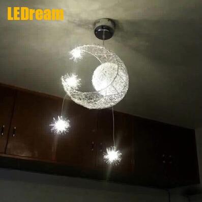 ФОТО Kid's Room Lighting Modern Fashion Moon&Star Pendant Lights Child Bedroom Lamps Aluminum Chander for Living Room Home Decoration
