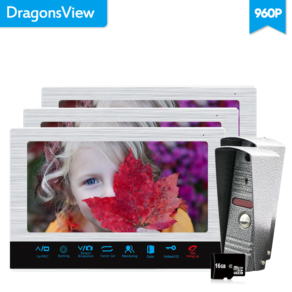 Dragonsview 10 Inch 960P Video Door Phone Record Video Call  Door Entry System With Motion Sensor For Home 3v2 Unlock Message