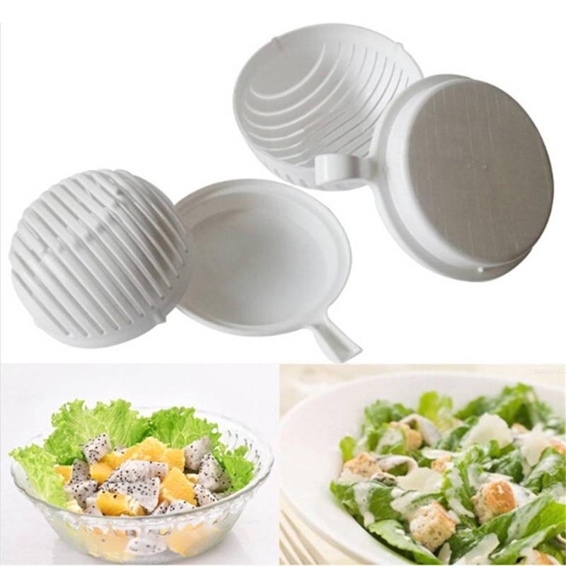 U-miss60 Second Vegetable Cutter Bowl Salad Maker Healthy Fresh Salads Washer and Cutter Quick Salad Maker Chopper