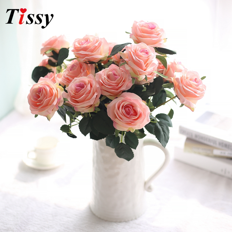 10 Head/Bouquet French Rose Artificial Flowers with Leaves Rose Silk ...