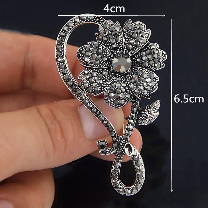 Lo último Flor De Plata Broche de Diamantes de Imitación de Cristal Diamante Boda Nupcial Broche Pin y