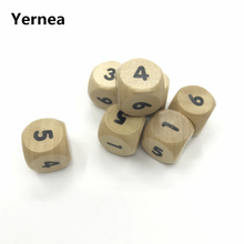 Yernea 5Pcs/Lot High-quality 18mm Woodiness Digiyal Dice Solid Wood Rounded Corner Environmental Chidren Teaching Set