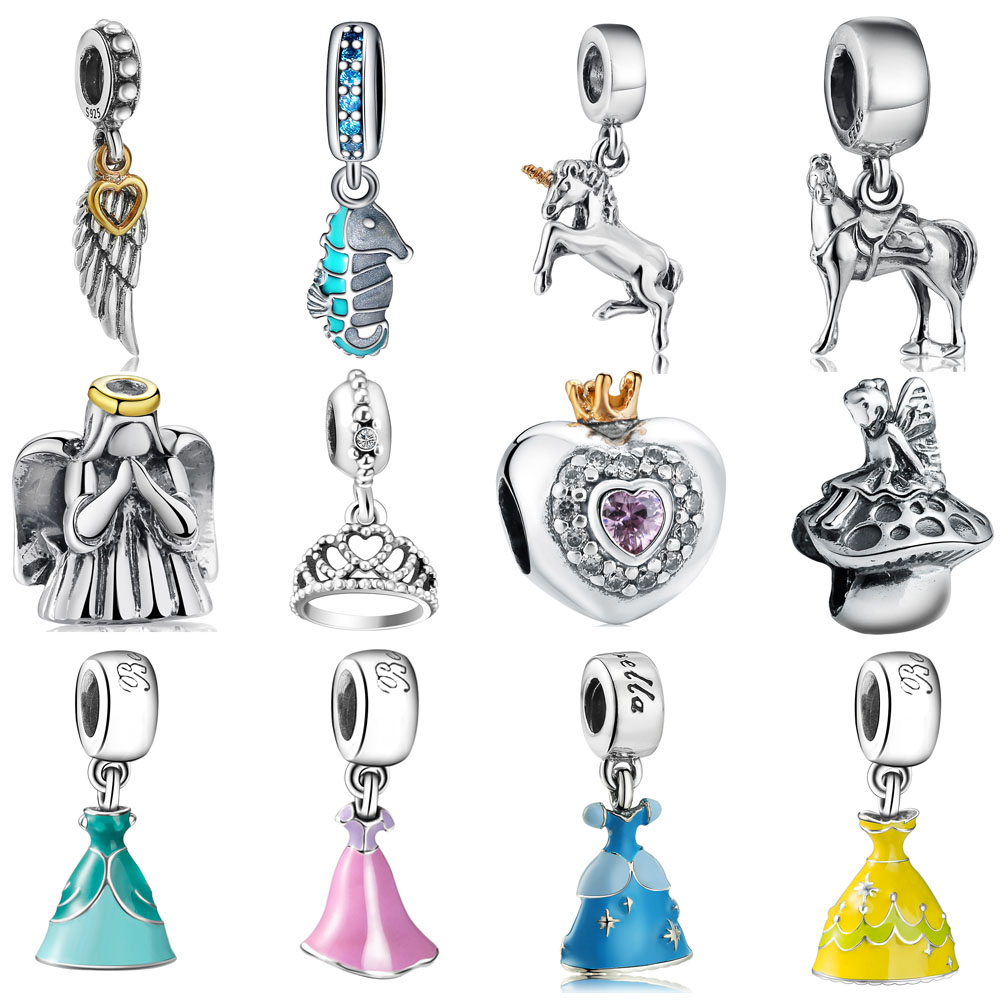 WYBEADS Brand Silver Charm Cartoon Fairy Tale Charms European Bead Fit font b Bracelets b font