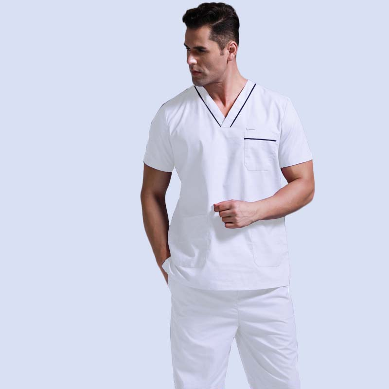 Men's Scrubs Top Pure Cotton Doctor Clothing Classic V-neck Nursing Uniform Short Sleeve Shirt With Side Vent ( Just A Top)