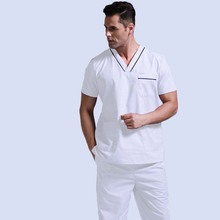 Mens Scrubs Top Pure Cotton Doctor Clothing Classic V-neck Nursing Uniform Short Sleeve Shirt with Side Vent ( Just A Top)