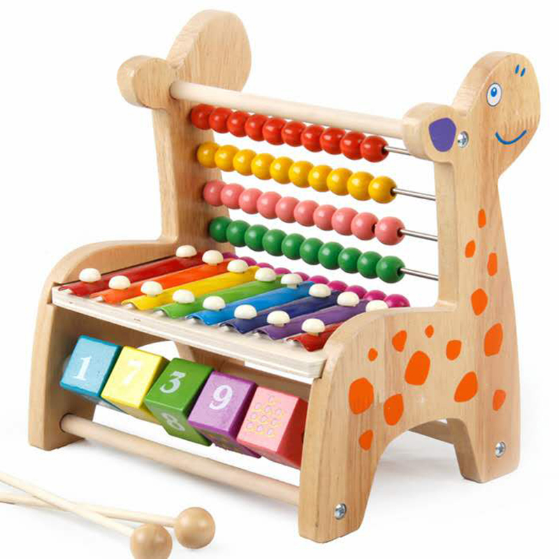 Kids Baby Wooden Abacus Toys Small Calculator Handcrafted Educational Children's Knocked Piano Early Learning Math Toy Gifts