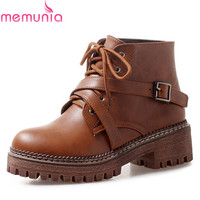 MEMUNIA 2018 new style round toe ankle boots women lace up +buckle autumn booties square heels platform shoes woman punk boots