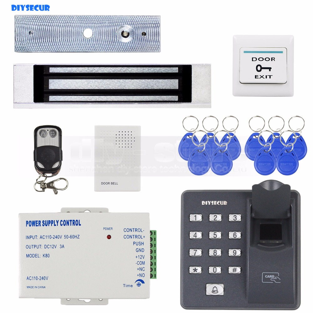 DIYSECUR Biometric Fingerprint RFID 125KHz Password Keypad Door Access Control System Kit + 180kg Electric Magnetic Lock biometric fingerprint access controller tcp ip fingerprint door access control reader