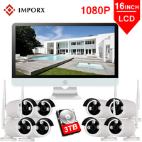 1080P Wireless NVR Kit 16 inch LCD Monitor 2MP 8PCS Wifi IP Camera Outdoor HD CCTV Camera Home Security System Surveillance Kits