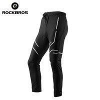 ROCKBROS Long Men Cycling Pants Elasticity Trousers Band Reflective Breathable Riding Bike Bicycle Pants MTB Black