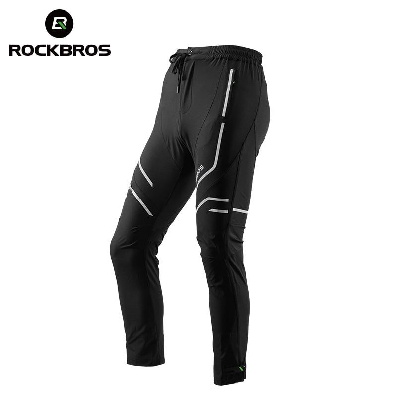 ROCKBROS Long Men Cycling Pants Elasticity Trousers Band Reflective Breathable Riding Bike Bicycle Pants MTB Black ropa ciclismo