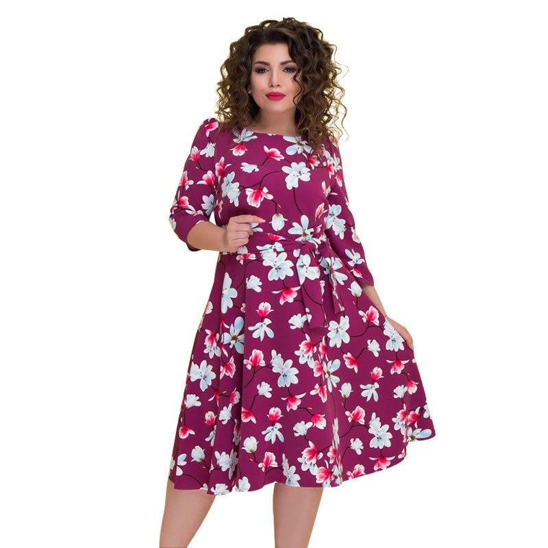 2019 Women's Dress Summer Dress Boho Floral Print Chiffon Beach Tunic Loose Dress Party Dress Vestidos Plus Size L- 5XL