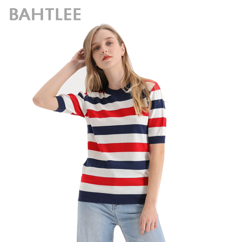 Bahtlee Summer Women T shirt Jumper Short Sleeve Knitted Pullover Sweater O neck Preppy style multi