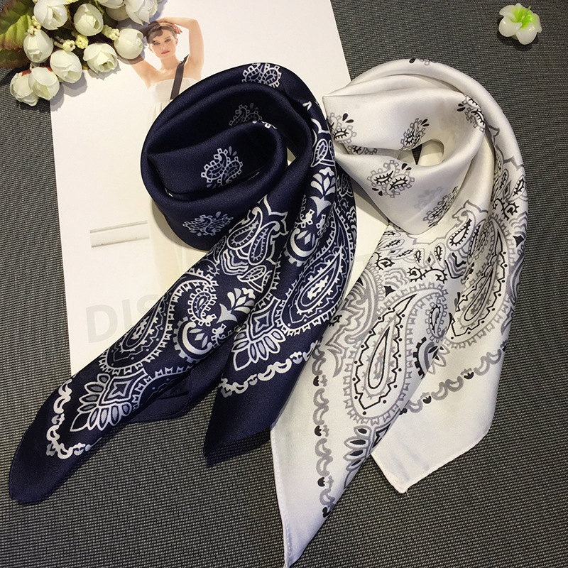 Women Striped Square Scarf Imitated Silk Scarves Leopard Stewardess Hostess Ladies Office Neckerchief Foulard Bandana Size 70cm