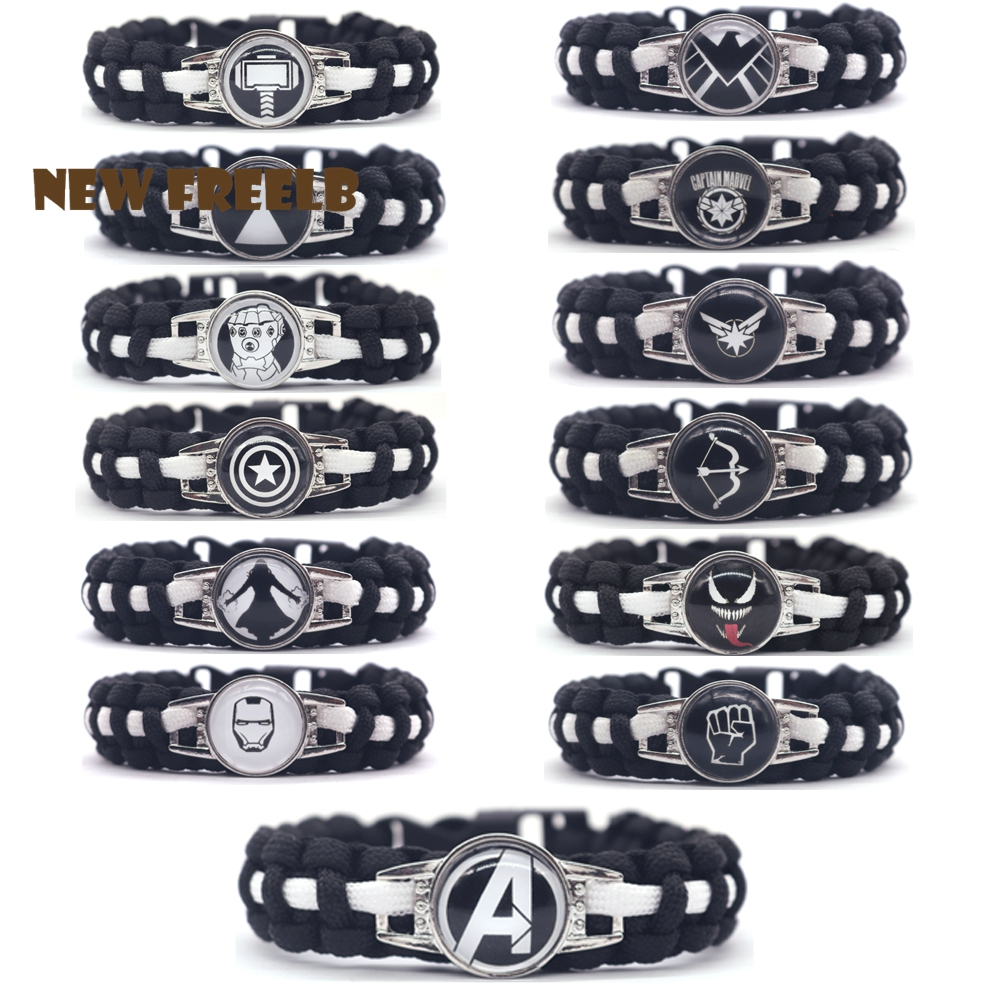 Hot Comic The Avengers Superheroes Logo Paracord Bracelets Black handmade Jewelry Outdoor Travel Hiking Great Gift