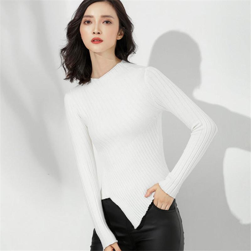 Womens Sweaters 2019 Fall Fashion Skinny Elastic Turtleneck Solid Knit Sweater Female Irregular Hem Soft Pullover Winter A1752